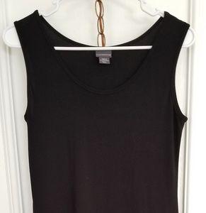 Sleek, sleeveless black dress